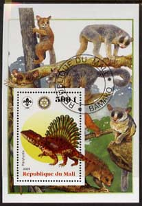 Mali 2005 Dinosaurs #08 - Platyhystix perf m/sheet with Scout & Rotary Logos, background shows various Lemurs fine cto used