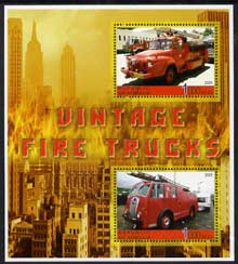 Somalia 2005 Vintage Fire Trucks #01 perf sheetlet containing 2 values fine cto used
