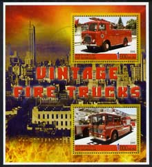 Somalia 2005 Vintage Fire Trucks #02 perf sheetlet containing 2 values fine cto used, stamps on fire