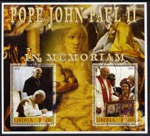 Liberia 2005 Pope John Paull II in Memoriam #01 perf sheetlet containing 2 values fine cto used