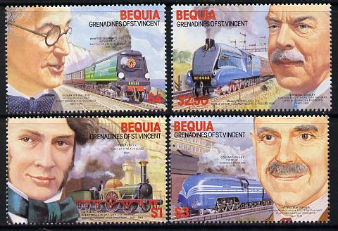 St Vincent - Bequia 1986 Locomotives & Engineers (Leaders of the World) set of 4 unmounted mint