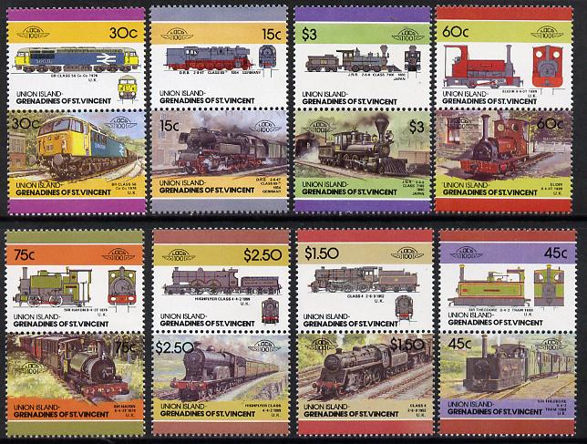 St Vincent - Union Island 1986 Locomotives #4 (Leaders of the World) set of 16 unmounted mint