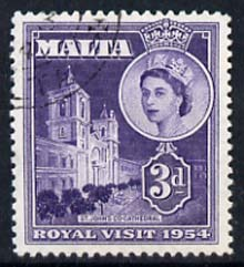 Malta 1954 Royal Visit (St John's Cathedral) 3d cds used, SG 262