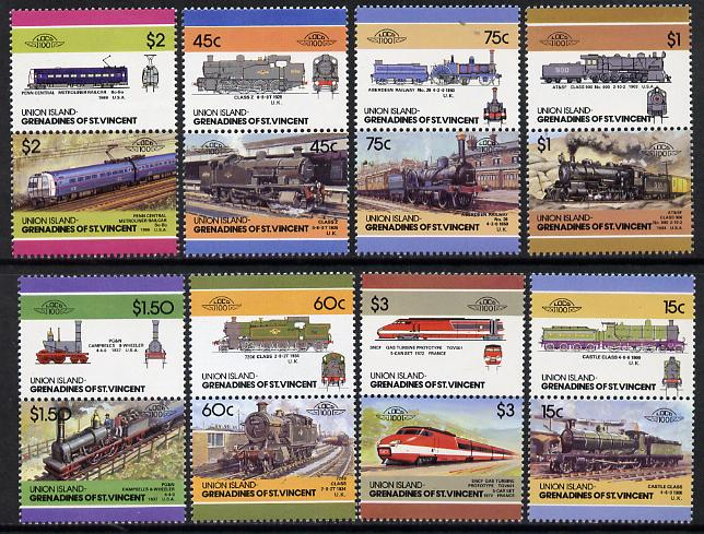 St Vincent - Union Island 1986 Locomotives #5 (Leaders of the World) set of 16 unmounted mint