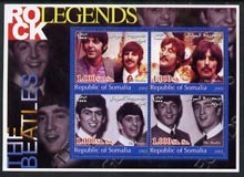 Somalia 2002 Rock Legends - The Beatles perf sheetlet containing set of 4 values unmounted mint