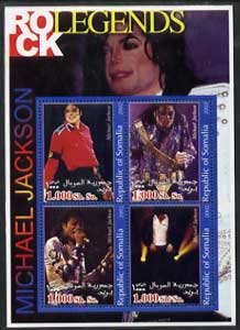 Somalia 2002 Rock Legends - Michael Jackson perf sheetlet containing set of 4 values unmounted mint