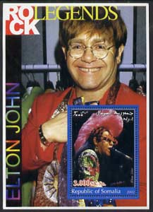 Somalia 2002 Rock Legends - Elton John perf s/sheet unmounted mint