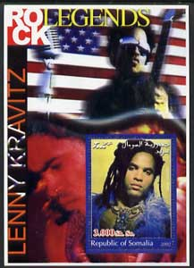 Somalia 2002 Rock Legends - Lenny Kravitz perf s/sheet unmounted mint