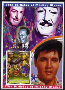 Congo 2001 75th Birthday of Mickey Mouse perf s/sheet #01 showing Alice in Wonderland with Elvis & Walt Disney in background, unmounted mint