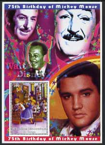 Congo 2001 75th Birthday of Mickey Mouse perf s/sheet #03 showing Alice in Wonderland with Elvis & Walt Disney in background, unmounted mint