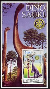 Somalia 2002 Dinosaurs perf s/sheet #5 (with Rotary Logo) fine unmounted mint