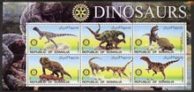 Somalia 2002 Dinosaurs perf sheetlet #1 containing six values each with Rotary Logo, unmounted mint