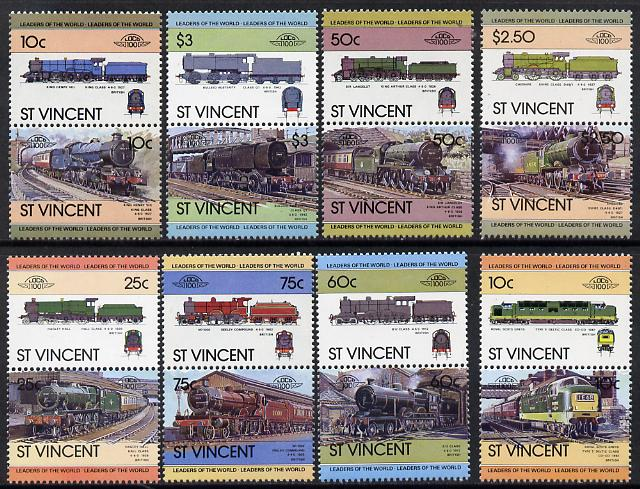 St Vincent 1983 Locomotives #1 (Leaders of the World) set of 16 unmounted mint as SG 744-59