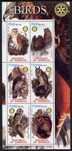 Somalia 2002 Owls perf sheetlet containing six values each with Rotary Logo, unmounted mint