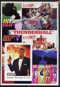 Congo 2003 James Bond Movies #04 - Thunderball imperf s/sheet unmounted mint