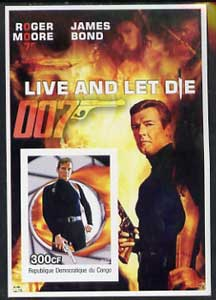 Congo 2003 James Bond Movies #08 - Live And Let Die imperf s/sheet unmounted mint