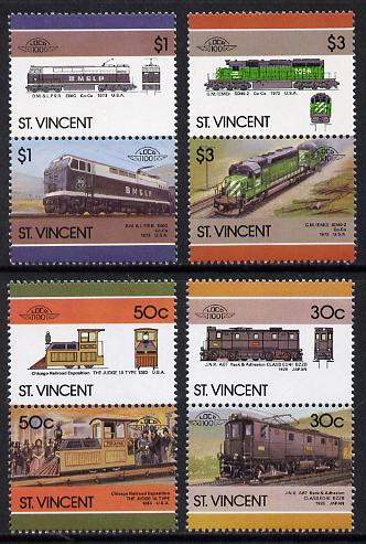 St Vincent 1986 Locomotives #6 (Leaders of the World) set of 8 unmounted mint SG 1001-8