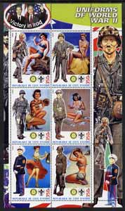 Ivory Coast 2003 Uniforms of World war II perf sheetlet #3 (with pin-ups, Scout and Rotary logos) unmounted mint
