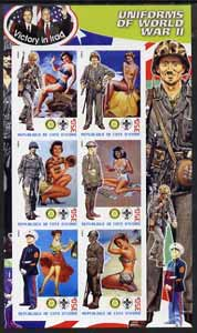 Ivory Coast 2003 Uniforms of World war II imperf sheetlet #3 (with pin-ups, Scout and Rotary logos) unmounted mint