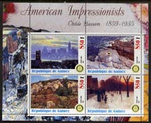 Guinea - Conakry 2003 American Impressionists - Childe Hassam perf sheetlet containing set of 4 values each with Rotary Logo unmounted mint