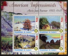 Guinea - Conakry 2003 American Impressionists - Alexis Jean Fournier perf sheetlet containing set of 4 values each with Rotary Logo unmounted mint