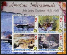 Guinea - Conakry 2003 American Impressionists - John Henry Twachtman perf sheetlet containing set of 4 values each with Rotary Logo unmounted mint