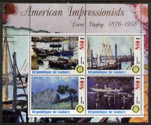 Guinea - Conakry 2003 American Impressionists - Lever Hayley perf sheetlet containing set of 4 values each with Rotary Logo unmounted mint, stamps on arts, stamps on rotary