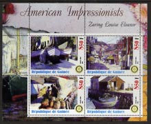 Guinea - Conakry 2003 American Impressionists - Zaring Louise Eleanor perf sheetlet containing set of 4 values each with Rotary Logo unmounted mint