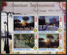 Guinea - Conakry 2003 American Impressionists - Paul Cornoyer perf sheetlet containing set of 4 values each with Rotary Logo unmounted mint