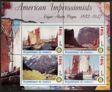 Guinea - Conakry 2003 American Impressionists - Edgar Alwin Payne perf sheetlet containing set of 4 values each with Rotary Logo unmounted mint