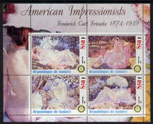 Guinea - Conakry 2003 American Impressionists - Frederick Carl Frieseke perf sheetlet containing set of 4 values each with Rotary Logo unmounted mint