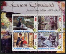 Guinea - Conakry 2003 American Impressionists - Richard Emil Miller perf sheetlet containing set of 4 values each with Rotary Logo unmounted mint