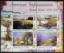 Guinea - Conakry 2003 American Impressionists - Theodore Wendel perf sheetlet containing set of 4 values each with Rotary Logo unmounted mint