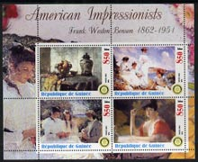 Guinea - Conakry 2003 American Impressionists - Frank Weston Benson perf sheetlet containing set of 4 values each with Rotary Logo unmounted mint