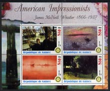 Guinea - Conakry 2003 American Impressionists - James McNeill Whistler perf sheetlet containing set of 4 values each with Rotary Logo unmounted mint