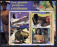 Burundi 2004 Nude paintings - Paul Gauguin perf sheetlet containing set of 4 values unmounted mint