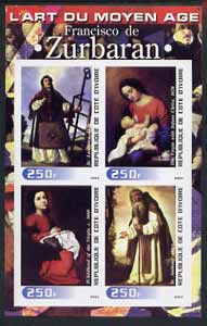 Ivory Coast 2003 Art of the Modern Age - Paintings by Francisco de Zurbaran imperf sheetlet containing 4 values unmounted mint