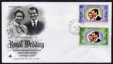 Antigua 1973 Royal Wedding set of 2 optd for Honeymoon Visit (SG 373-74) on illustrated cover with first day cancel, stamps on royalty, stamps on anne, stamps on mark