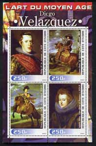 Ivory Coast 2003 Art of the Modern Age - Paintings by Diego Velazquez perf sheetlet containing 4 values unmounted mint