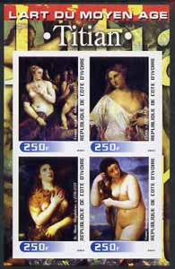 Ivory Coast 2003 Art of the Modern Age - Paintings by Titian imperf sheetlet containing 4 values unmounted mint