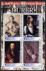 Ivory Coast 2003 Art of the Modern Age - Paintings by Albrecht Durer perf sheetlet containing 4 values unmounted mint