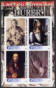 Ivory Coast 2003 Art of the Modern Age - Paintings by Albrecht Durer imperf sheetlet containing 4 values unmounted mint