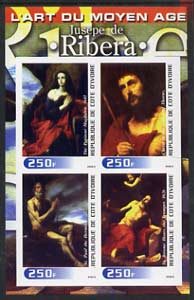 Ivory Coast 2003 Art of the Modern Age - Paintings by Jusepe de Ribera imperf sheetlet containing 4 values unmounted mint