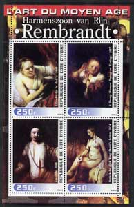 Ivory Coast 2003 Art of the Modern Age - Paintings by Rembrandt perf sheetlet containing 4 values unmounted mint