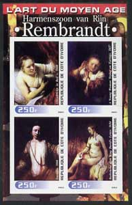 Ivory Coast 2003 Art of the Modern Age - Paintings by Rembrandt imperf sheetlet containing 4 values unmounted mint