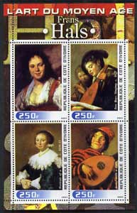 Ivory Coast 2003 Art of the Modern Age - Paintings by Frans Hals perf sheetlet containing 4 values unmounted mint