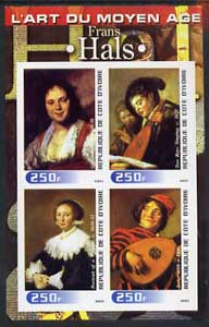 Ivory Coast 2003 Art of the Modern Age - Paintings by Frans Hals imperf sheetlet containing 4 values unmounted mint