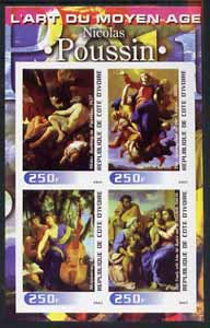 Ivory Coast 2003 Art of the Modern Age - Paintings by Nicolas Poussin imperf sheetlet containing 4 values unmounted mint