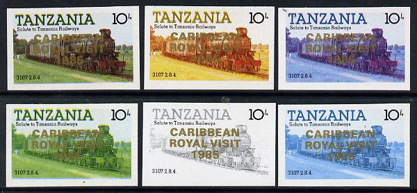 Tanzania 1985 Locomotive 3107 10s value (SG 431) unmounted mint imperf set of 6 progressive colour proofs each with 'Caribbean Royal Visit 1985' opt in gold*
