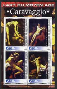 Ivory Coast 2003 Art of the Modern Age - Paintings by Caravaggio perf sheetlet containing 4 values unmounted mint